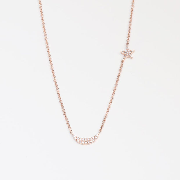 Rose Star and Moon Diamond Necklace