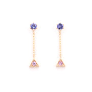 Tanzanite & Sapphire Small Triangle Drop Studs