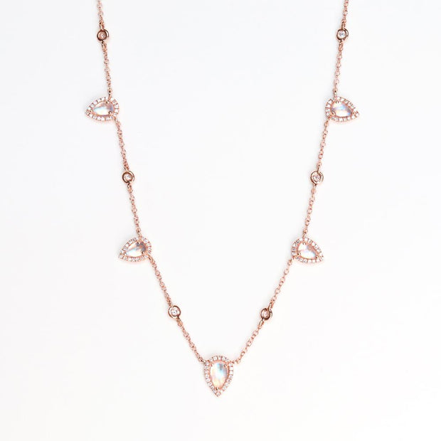 Diamond Moonstone Teardrops Necklace