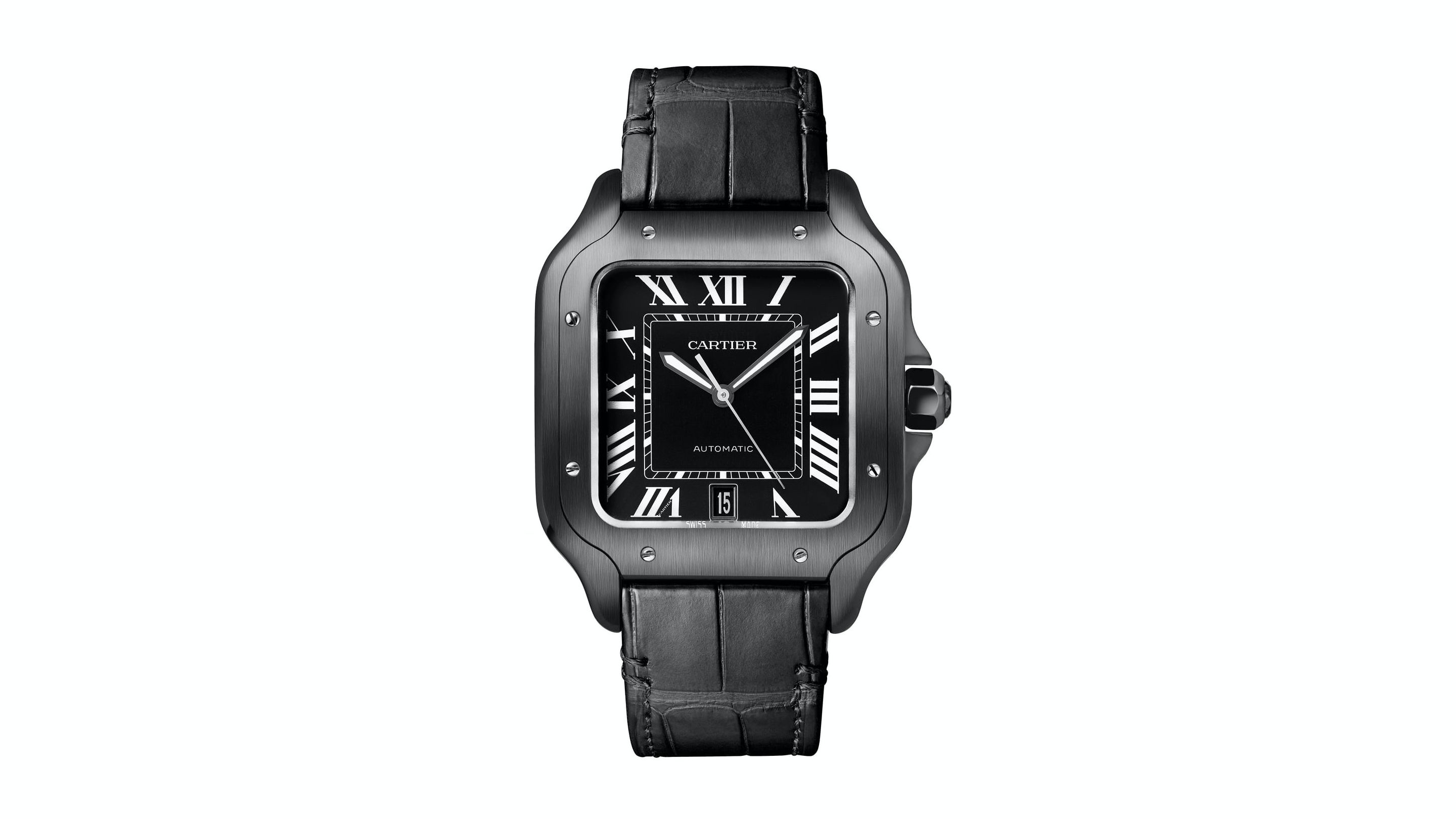 Cartier Santos De Cartier All Black - Rubber strap