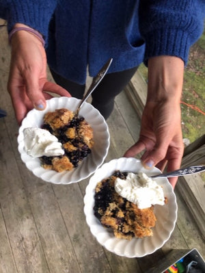 A Wild Blueberry and Huckleberry Crisp -- made healthier with a little Flax Meal