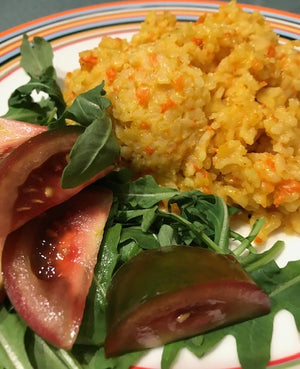 Carrot and saffron risotto -- as pretty as it is delicious!