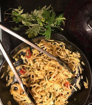 Mugwort again -- this time in one-pot pasta