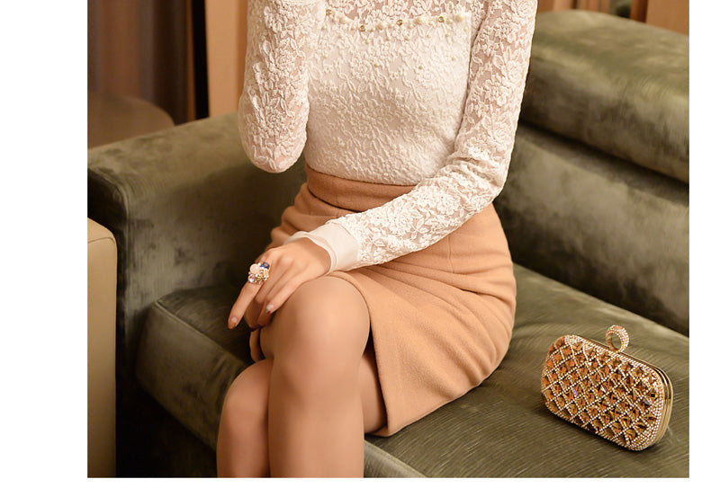 Ruffled Collar Long Sleeve Blouse with Beads