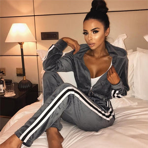 2PCS Zip Top & Bottoms Track Suit