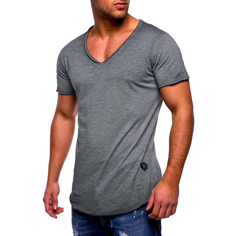 Slim Fit V Neck Short Sleeve Cotton Muscle Tee