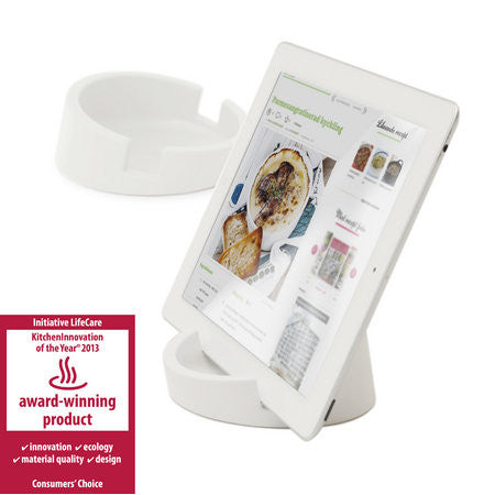 Silicone Tablet Stand for Kitchen / Office  (White/Silicone)