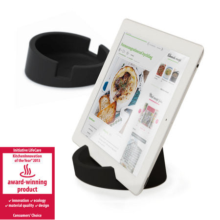 Silicone Tablet Stand for Kitchen / Office  (Black/Silicone)