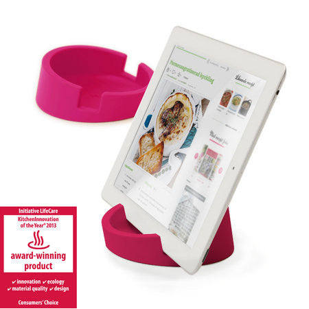 Silicone Tablet Stand for Kitchen / Office  (Pink/Silicone)