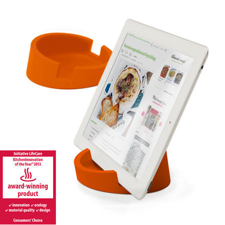 Silicone Tablet Stand for Kitchen / Office  (Orange/Silicone)