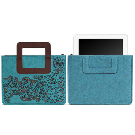 iPad Carrying sleeve, Bloom Pattern - Mix Turquoise Gray / Chestnut