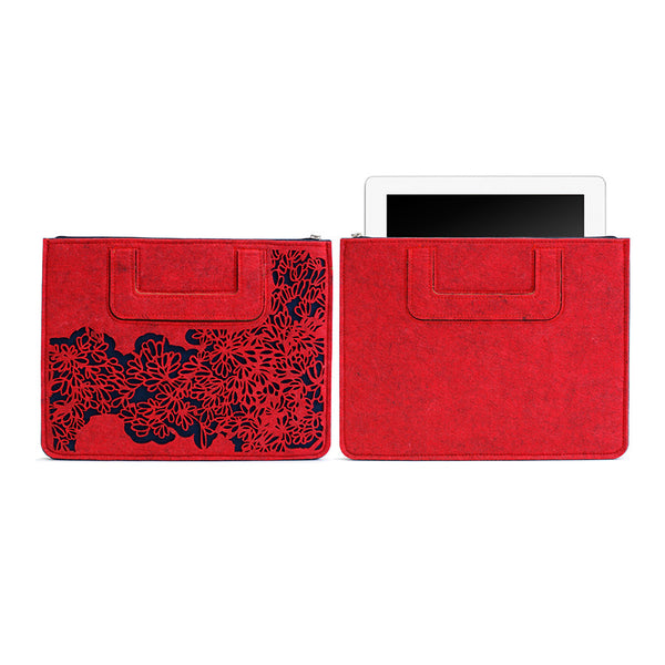 iPad Carrying sleeve, Bloom Pattern - Mix Red Gray / Dark blue