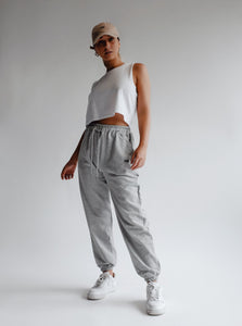 WARM-UP TRACK PANTS - GREY MARLE