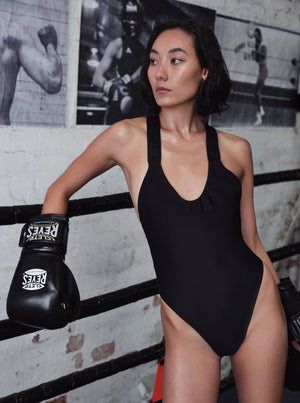 STINGRAY ONE-PIECE SWIMMERS - BLACK