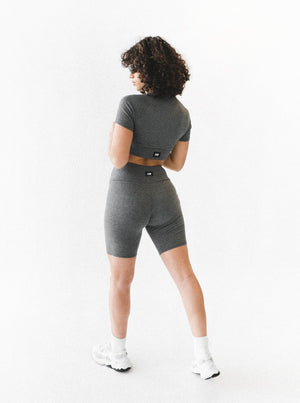 INHALE RIBBED SHORTS - DARK GREY MARLE