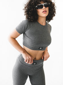 INHALE CROPPED TEE - DARK GREY MARLE