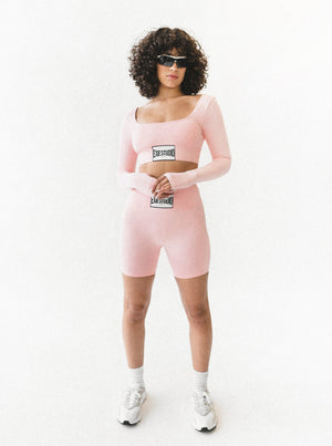 TREBLE BIKE SHORTS - PEACH