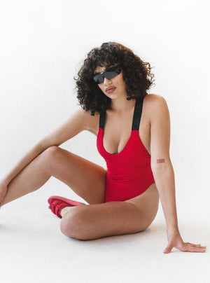 STINGRAY ONE-PIECE SWIMMERS - RED