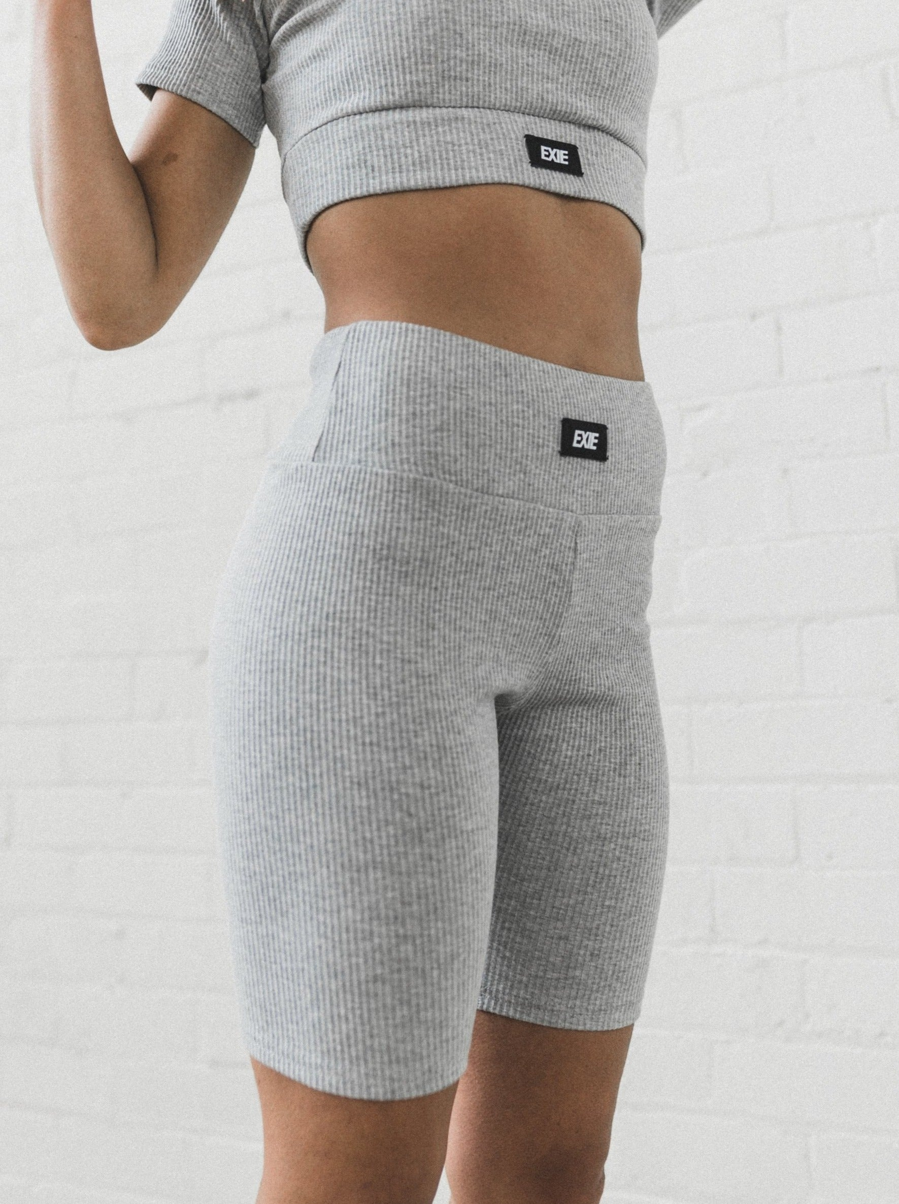 INHALE RIBBED SHORTS - LIGHT GREY MARLE