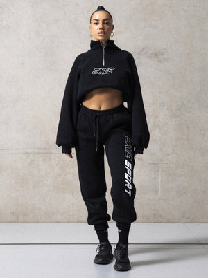 EXIE SPORT CROPPED SWEATER - BLACK