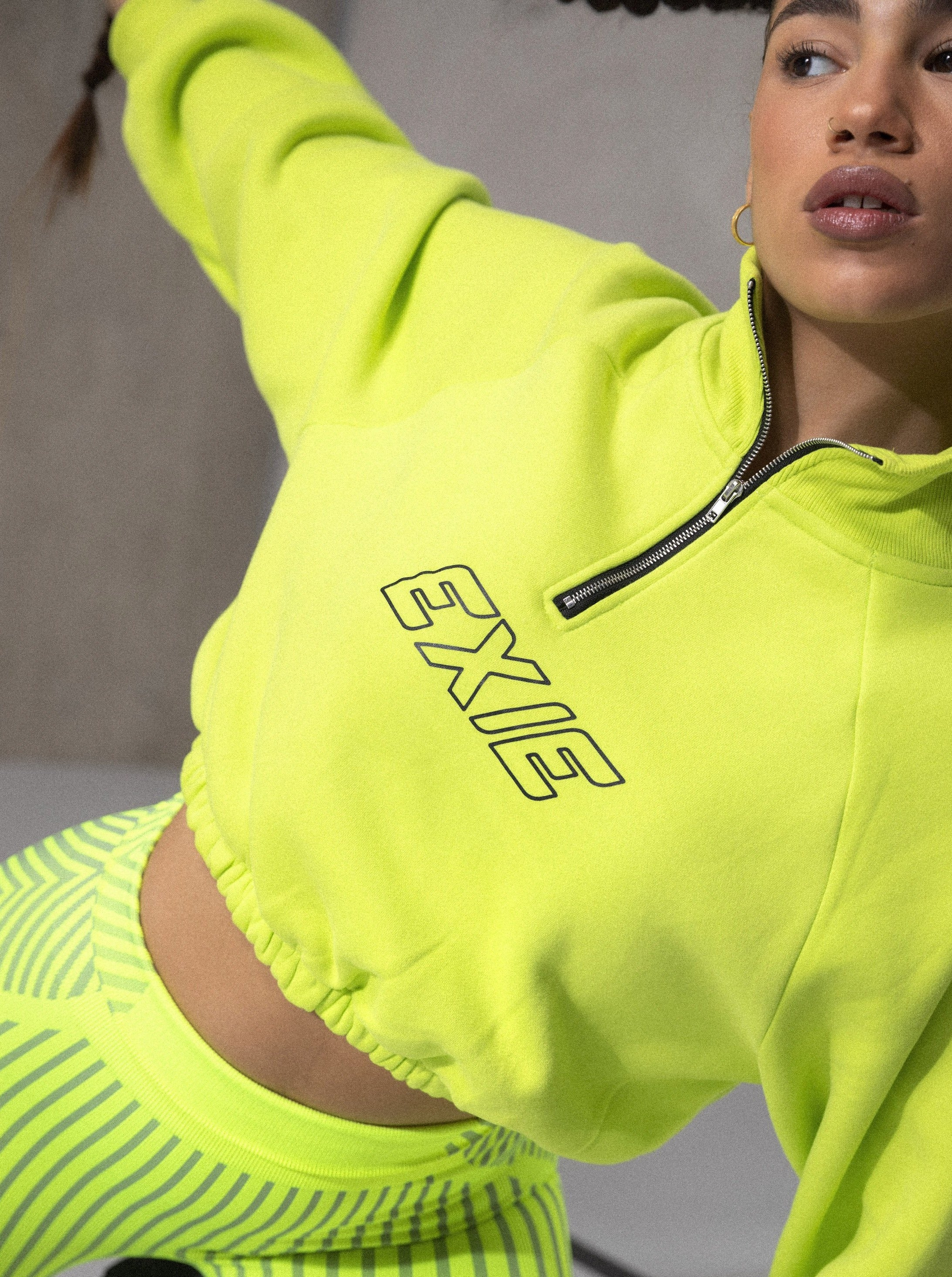EXIE SPORT CROP SWEATER - FLURO YELLOW