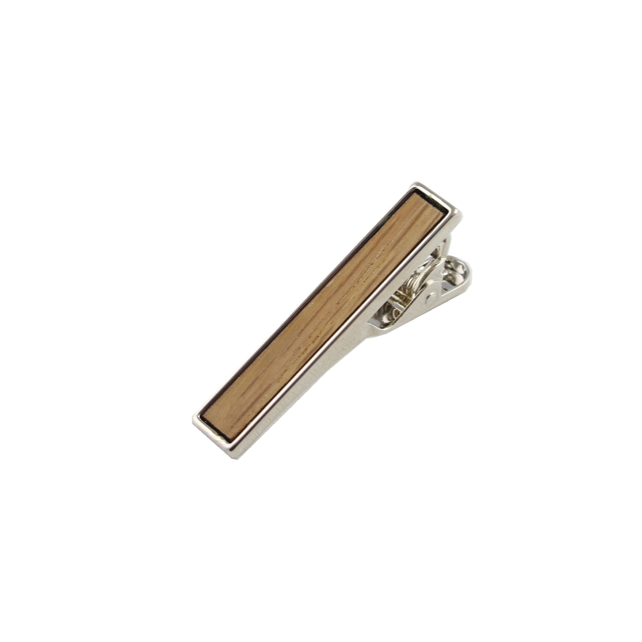 Ash Wooden Inlay-Silver Tie Bar from DIBI