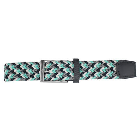 Aqua, White, Black, & Grey Elastic Belt