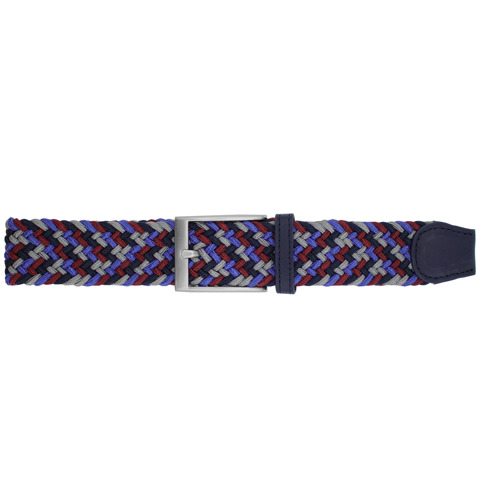 Cabernet, Navy, Royal Blue, & Grey Elastic Belt