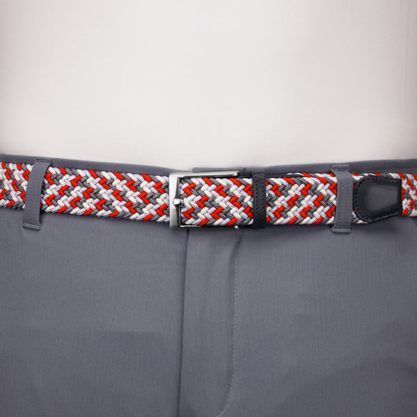 Red, White, Light Grey, & Charcoal Elastic Belt
