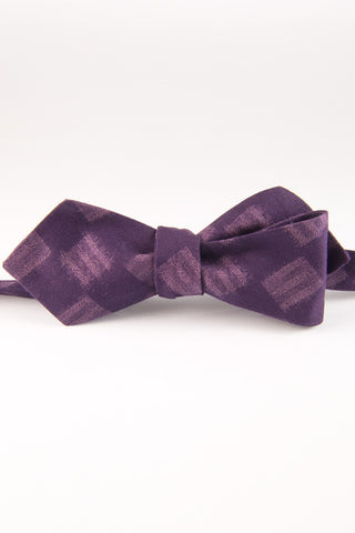 Checks & Balances Eggplant Self Tie Bow Tie