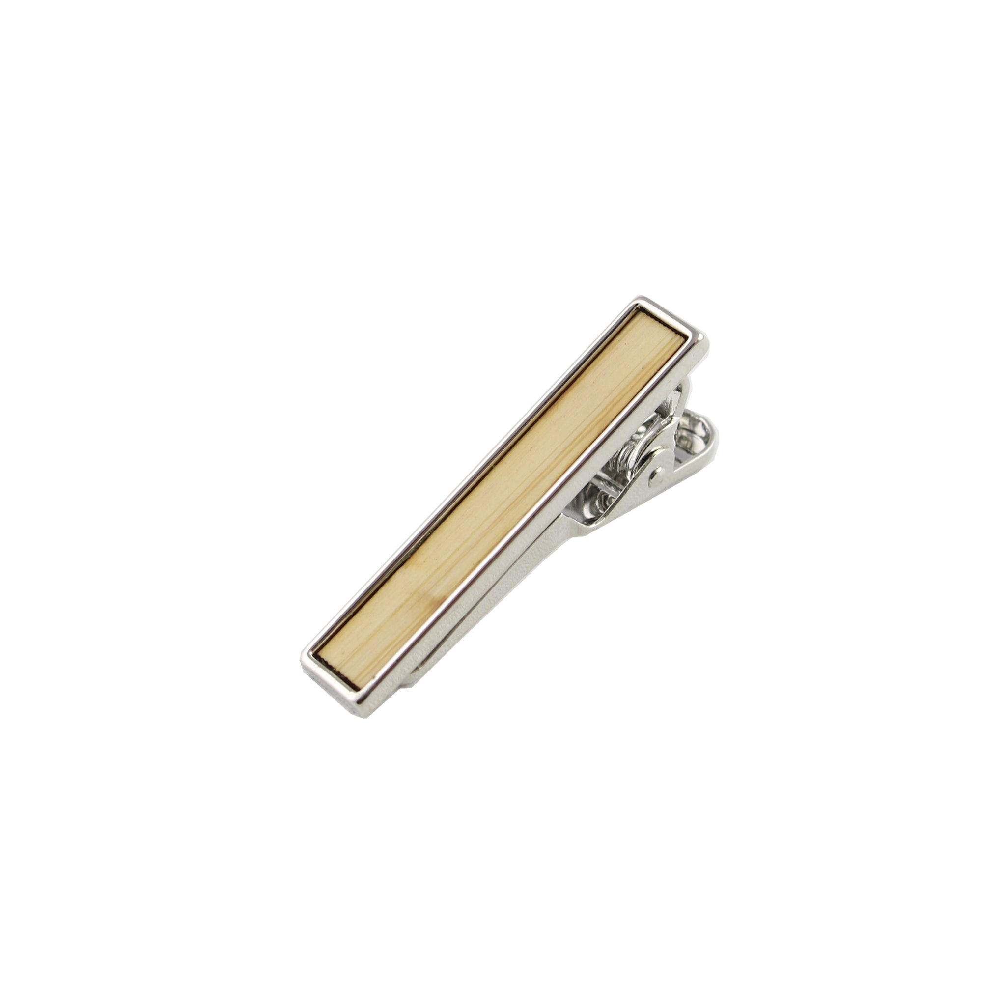 Bamboo Wooden Inlay-Silver Tie Bar from DIBI