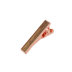 Bubinga Wooden Inlay-Rose Gold Tie Bar from DIBI