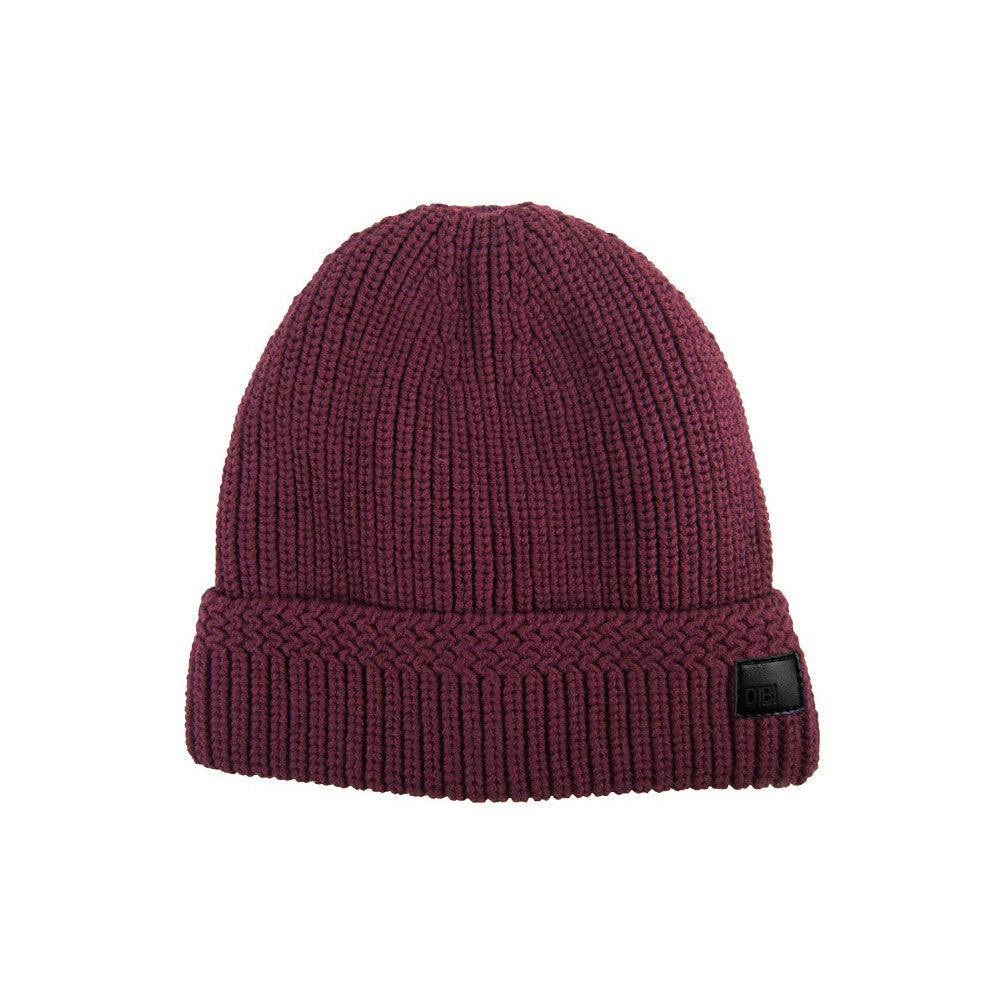 Burgundy Cable Knit Fur Lined Beanie
