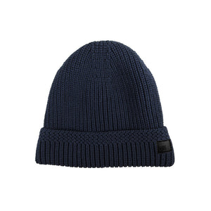Navy Cable Knit Fur Lined Beanie