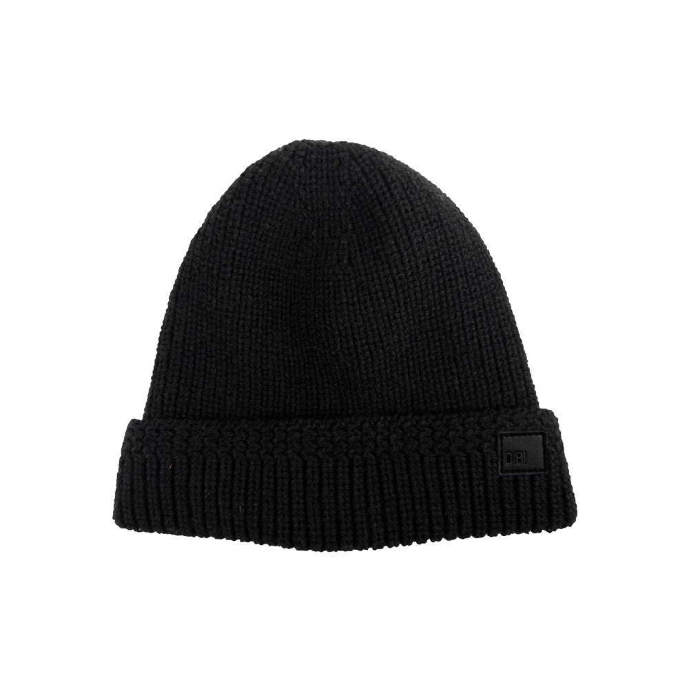 Black Cable Knit Fur Lined Beanie