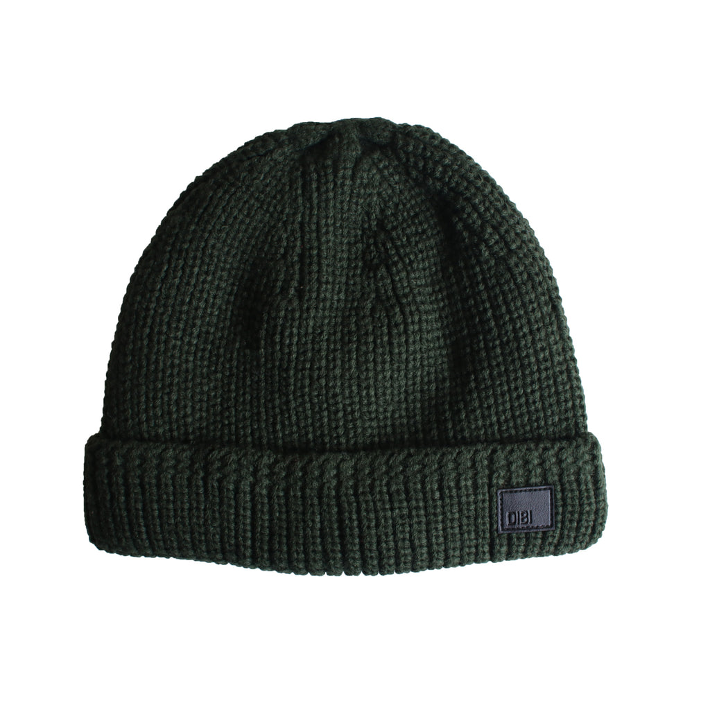 Forest Green Cable Knit Fur Lined Beanie