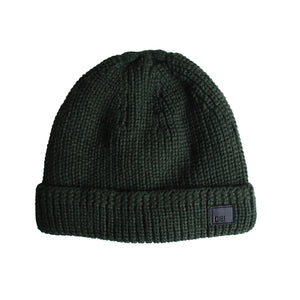 Forest Green Cable Knit Fur Lined Beanie from DIBI