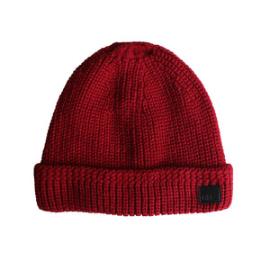Rust Cable Knit Fur Lined Beanie from DIBI