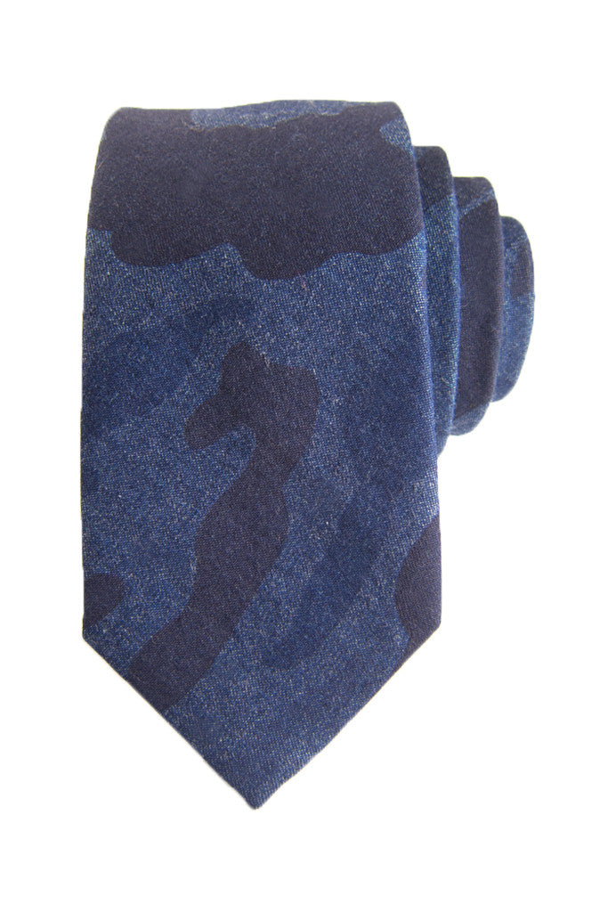 Dark Blue Woodland Camo Tie