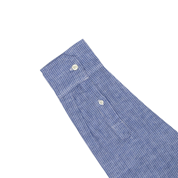 Blue Pinstripe Soft Hand Double Cloth