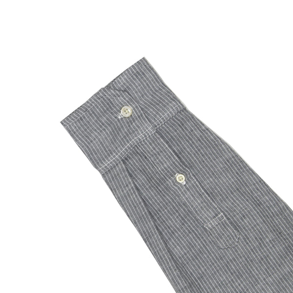 Charcoal Pinstripe Soft Hand Double Cloth
