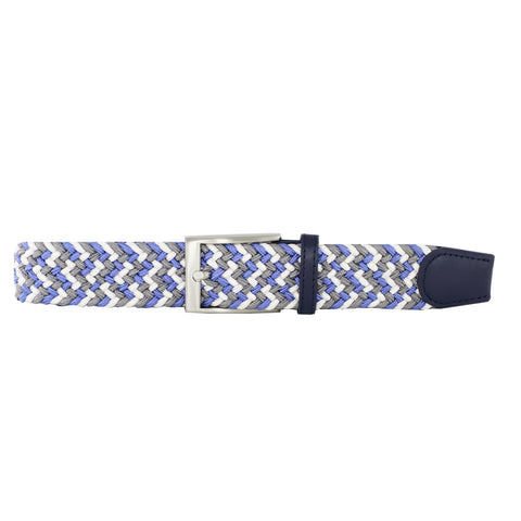 Sky Blue, Charcoal, & White Elastic Belt