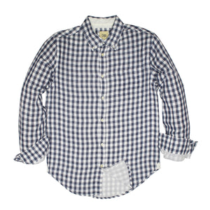 Grey Blue Gingham Soft Hand Double Cloth