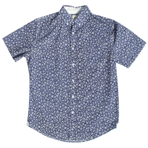 Navy & White Floral Cotton Shirt