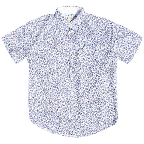 White & Navy Floral Cotton Shirt