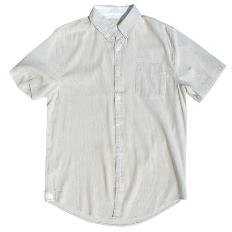 Beige & White Pinstripe Cotton Linen Shirt