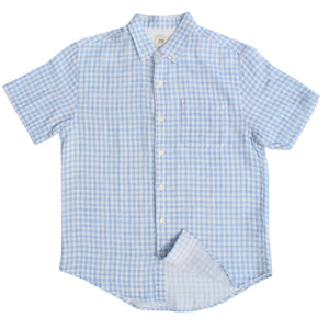 Light Blue Gingham Double Cloth Cotton Shirt