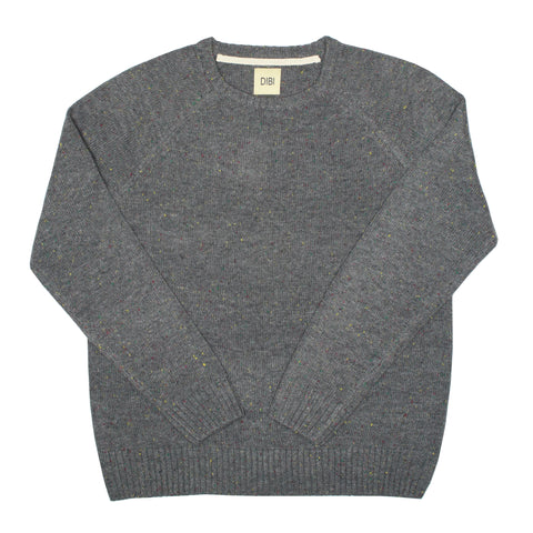 Grey Donegal Crewneck Sweater