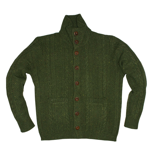 Forest Green Donegal Cardigan Sweater