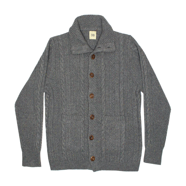 Grey Donegal Cardigan Sweater